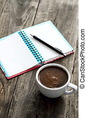 work place with coffee and notepad