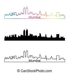 Mumbai skyline linear style with rainbow in editable vector...