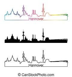 Hannover skyline linear style with rainbow in editable...