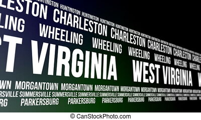 West Virginia State Major Cities - Animated scrolling banner...