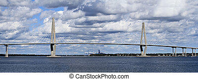 Cooper River Bridge in Charleston, South Carolina on a...