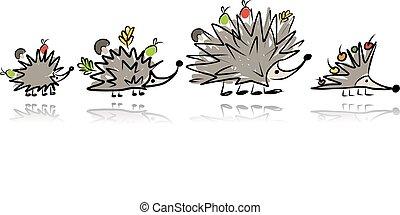 Funny hedgehog family, sketch for your design