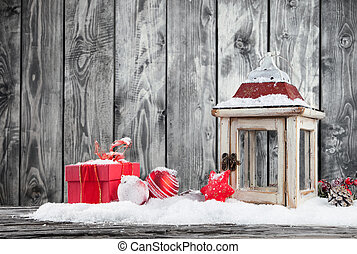 Winter snowy scenery with lantern - Christmas still life...
