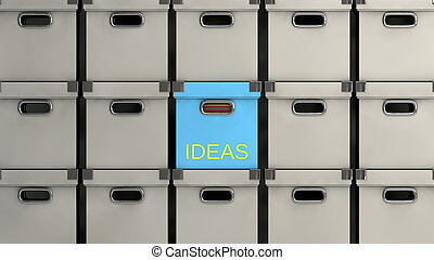ideas concept - idea concept, different colored boxes with...