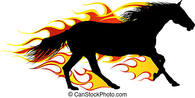 flame horse - Horse silhouette with flame tongues. Vector...