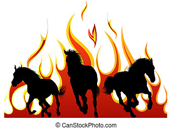 flame horse - Horse silhouette with flame tongues Vector...