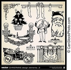Christmas decoration collection vector. Set of vintage...