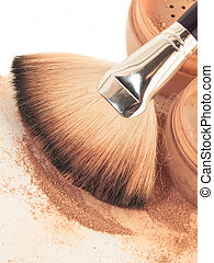 Face powder and brush. close up
