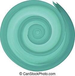 Teal watercolor spiral circular backdrop. Vector...