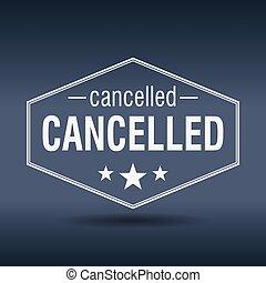 cancelled hexagonal white vintage retro style label