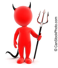 3d white people devil, isolated white background, 3d image