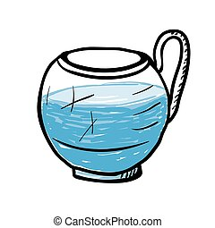 Glass cup with water, vector illustration. - Glass cup with...