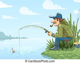 Fisherman with rod fishing on river Eps10 vector...