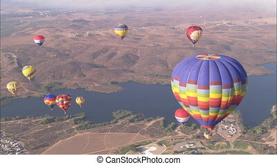 WS Hot Air Balloons high angle - WS of a group of hot air...