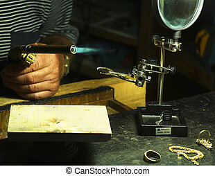 jewelry - jewelery making in the workshop of a goldsmith