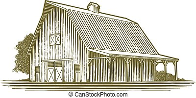 Woodcut Barn Icon - Woodcut-style illustration of a barn