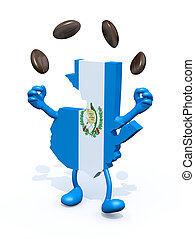 guatemala map juggler with coffee beans - guatemala map with...