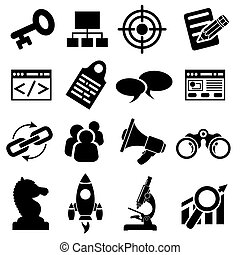 SEO Business Icon Set - Search Engine Optimization SEO Icon...