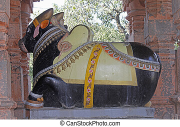 Nandi at Sangameshwar Temple near Saswad, Maharashtra, India