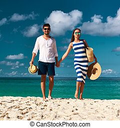 Couple on a beach at Seychelles - Couple on a tropical beach...