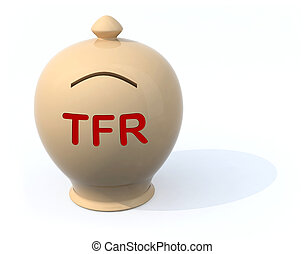 sad piggy bank with the words tfr severance pay, 3d...