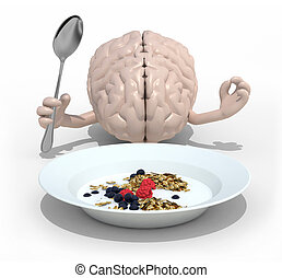 brain with hands and fork in front of a cerealsi dish -...