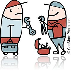 Mechanic with wrench and suitcase for instruments Vector...