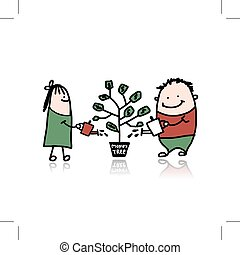 Couple watering a money tree. Vector illustration