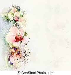 Greeting floral card with bright spring flowers on haze...