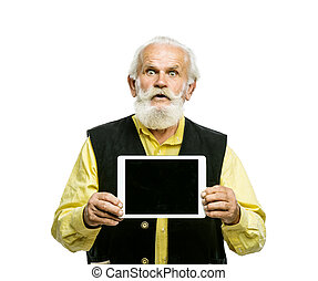 Old bearded man with tablet isolated - Old active bearded...