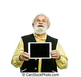 Old bearded man with tablet isolated