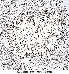 Fashion hand lettering and doodles elements background