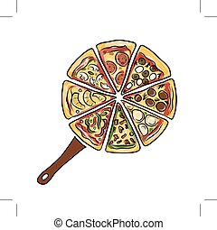 Pan with pieces of pizza, sketch for your design Vector...