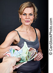 cute girl with money bank notes - cute girl holding a lot of...