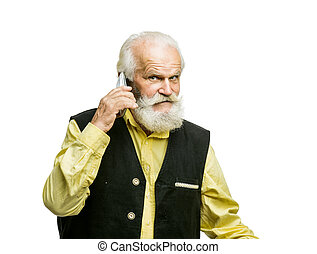 Old bearded man with mobile phone isolated - Old active...