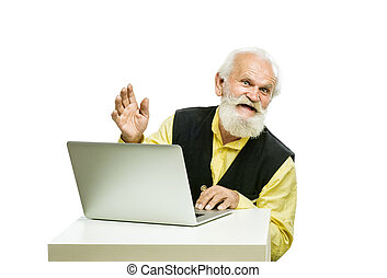 Old bearded man with laptop isolated on white background