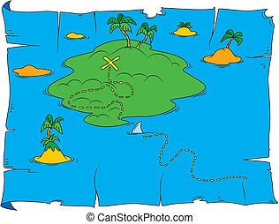 Treasure map - Cartoon illustration of treasure map