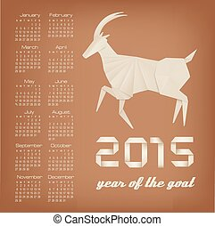 2015 year of the goat calendar Vector