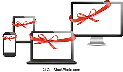Set of digital devices with gift ribbons and bow Vector