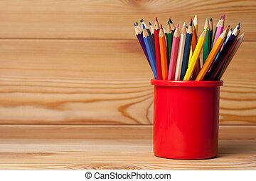 Muchos, diferente, coloreado, lápices, en, de madera,...