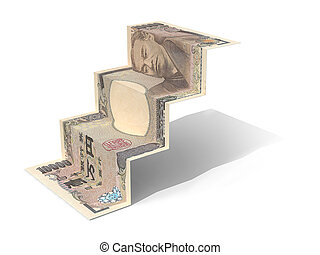 10000 yen banknote folded as steps on white background, 3d...