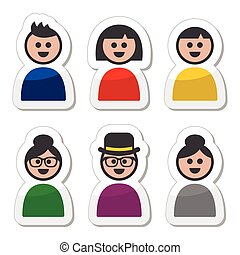 User, young and old people icons se