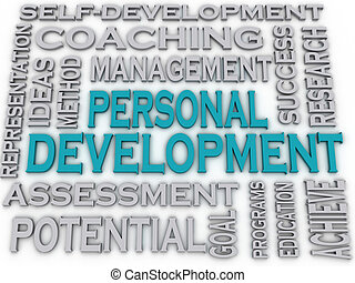 3d imagen Personal development issues and concepts word...