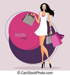 Fashion girl Woman with shopping bags Vector illustration