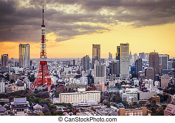 Tokyo, Japan cityscape at sunset.