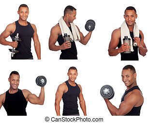 Sequence of latin man in the gym isolated on a white...