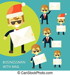 successful businessman and a letter - set with a cheerful...