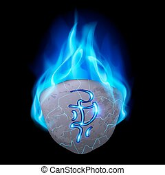 Rune - Burning blue flame rune stone with magical spells on...