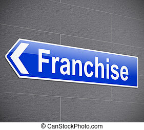 Franchise concept. - Illustration depicting a sign with a...