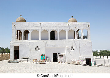 Bukhara - Old mosque at the Ark, a massive fortress located...